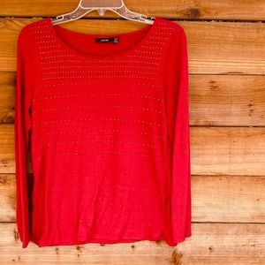 Apt. 9 red shirt with silver stud decoration